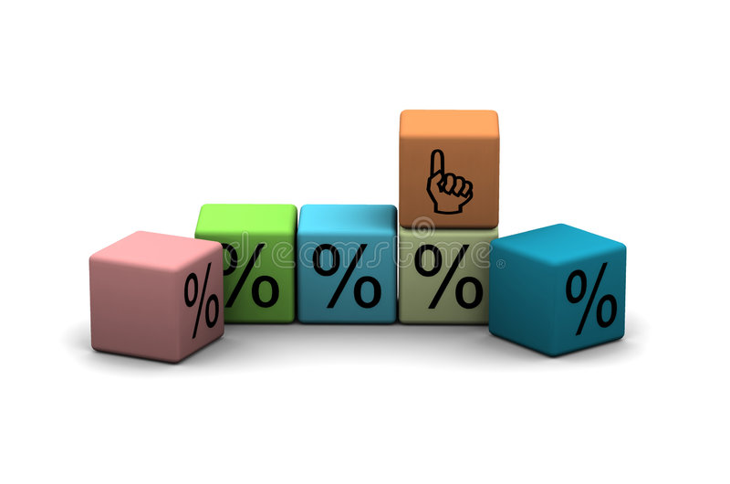 Cubes With Percent Stock Photography