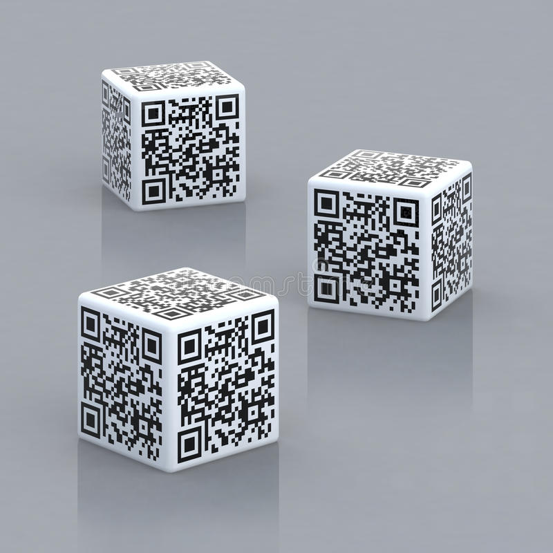Cubes with qr code. Three cubes with qr code 3d illustration vector illustration