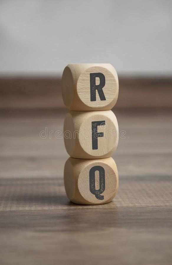 Cubes with RFQ request for quotation stock photography