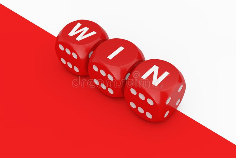 Cubes rouges en matrices de victoire rendu 3d illustration stock