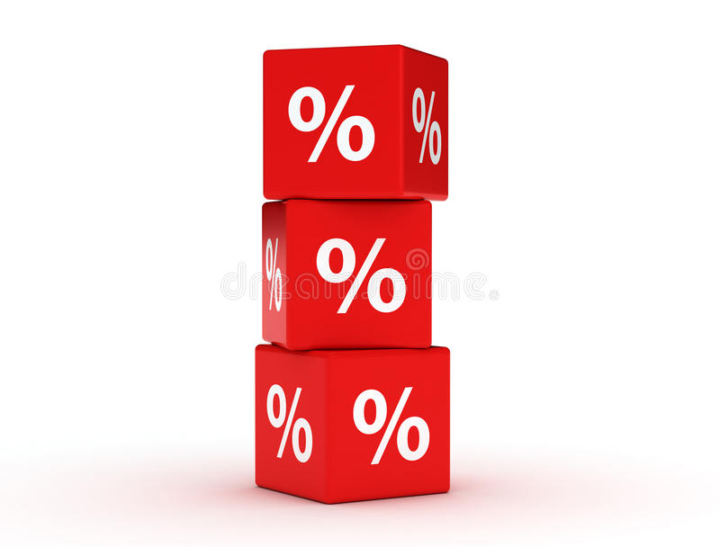 Cubes rouges en remise Concept de vente - main avec la loupe illustration de vecteur