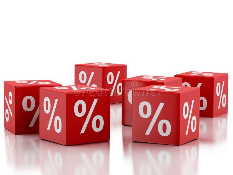 cubes rouges en remise 3d Concept de vente - main avec la loupe illustration stock