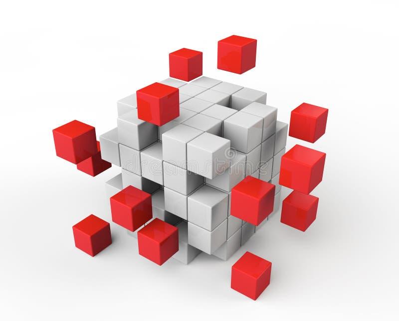Cubes rouges et blancs abstraits illustration libre de droits