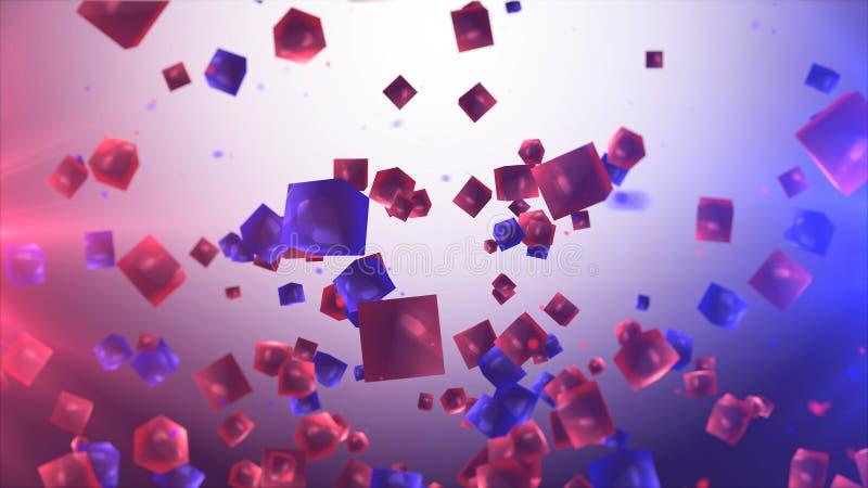 Cubes rouges et bleus abstraits dans le ciel illustration libre de droits