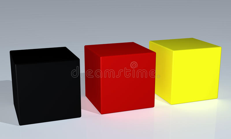 Cubes. Shiny black, red and yellow cubes stock illustration