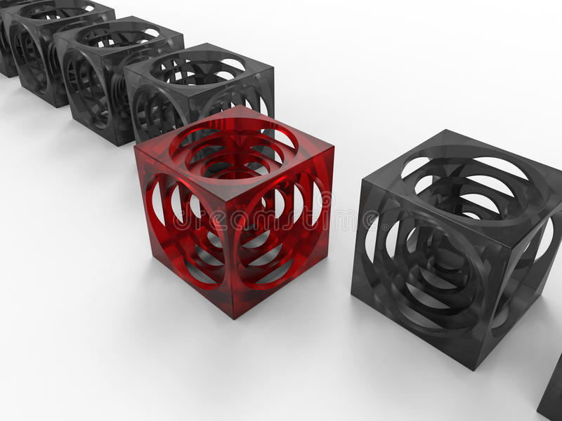 Cubes standing out from the crowd concept. 3D rendered illustration for the concept of standing out of the crowd. The composition uses multiple abstract cubes vector illustration