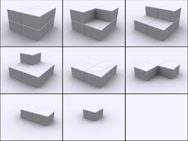 Cubes in steps. 3d rendered image of 8 boxes put together cube by cube in 9 steps