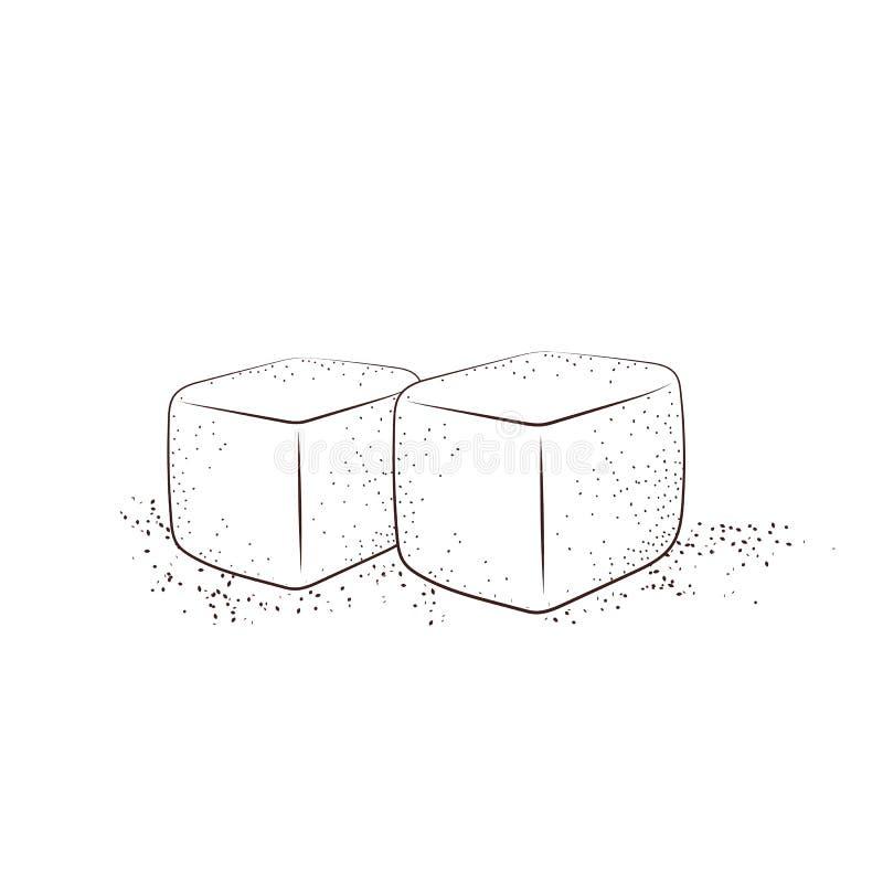 Cubes tirés par la main en sucre Deux cubes en sucre blanc ont isolé illustration de vecteur