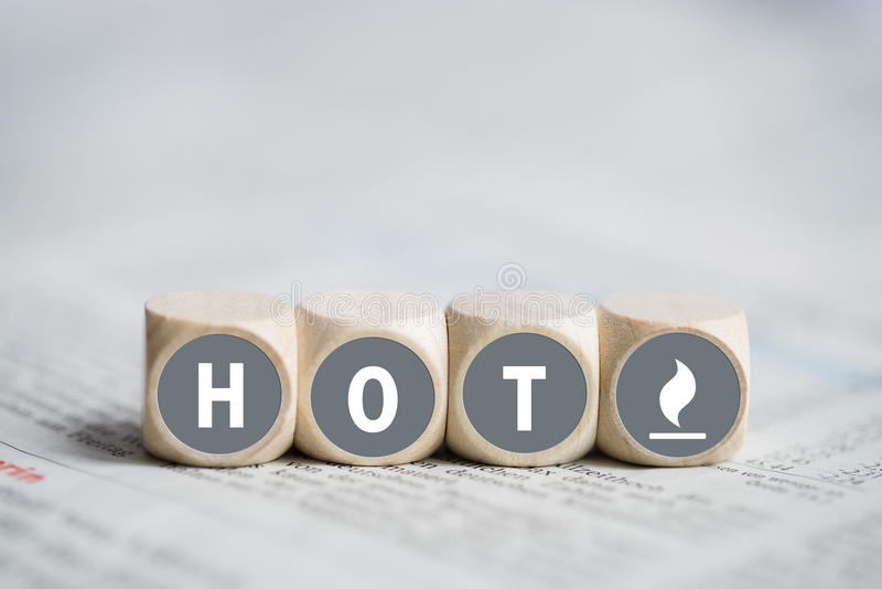 Cubes with the word hot stock photos