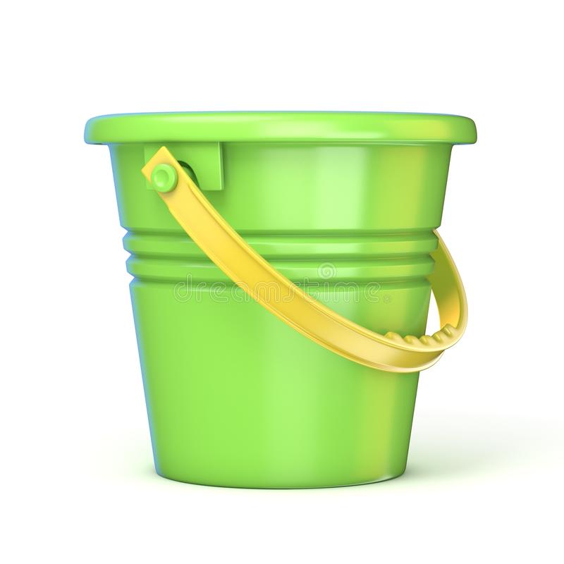 Cubeta amarela verde do brinquedo da areia 3d ilustração stock