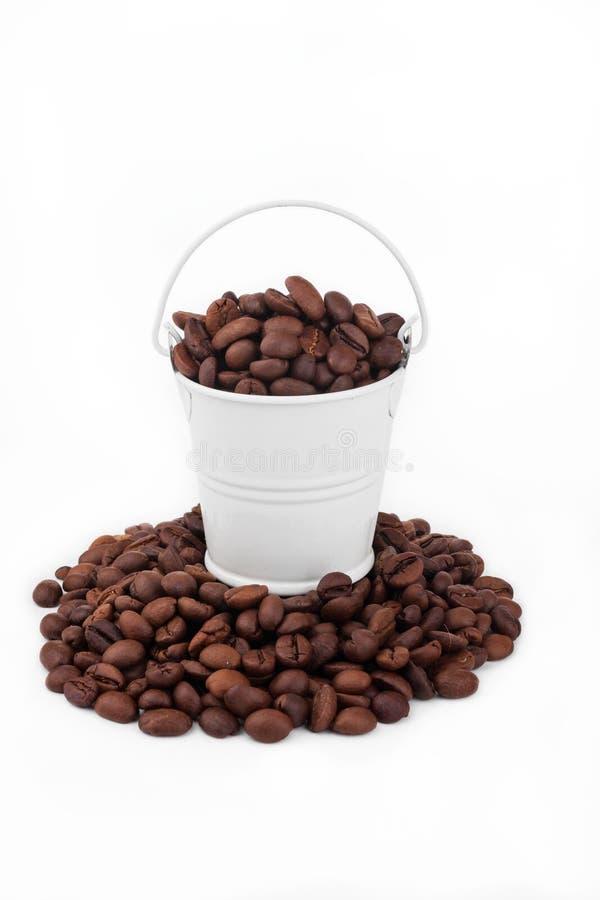 Cubeta branca completamente dos feijões de café, suportes em feijões de café do montão fotografia de stock