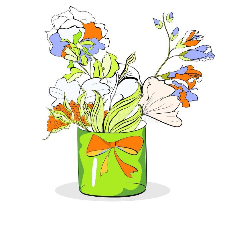 Cubeta com as flores no branco ilustração do vetor
