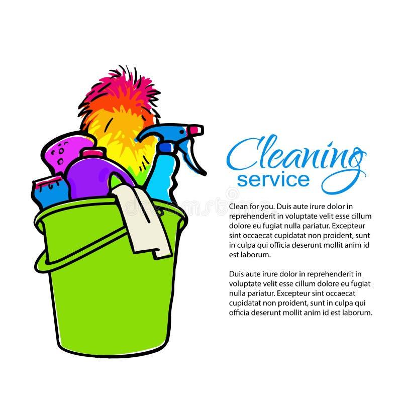 Cubeta com líquidos de limpeza da limpeza Serviços da limpeza ilustração stock