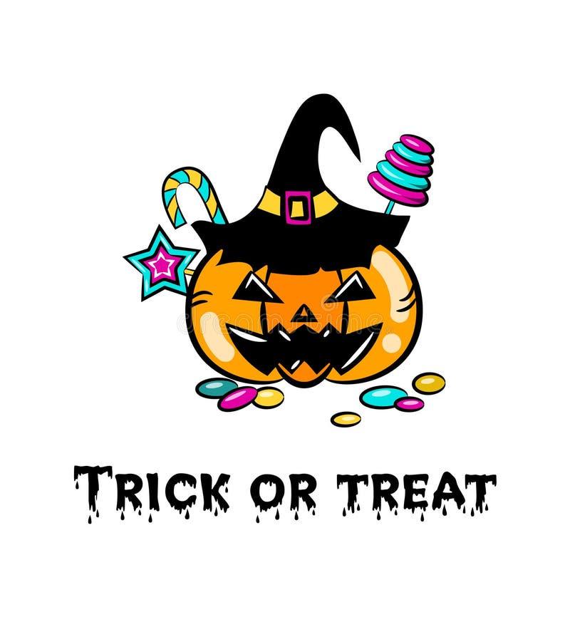 Cubeta da ab?bora de Dia das Bruxas com doces, doces e pirulitos Estilo dos desenhos animados ilustração royalty free