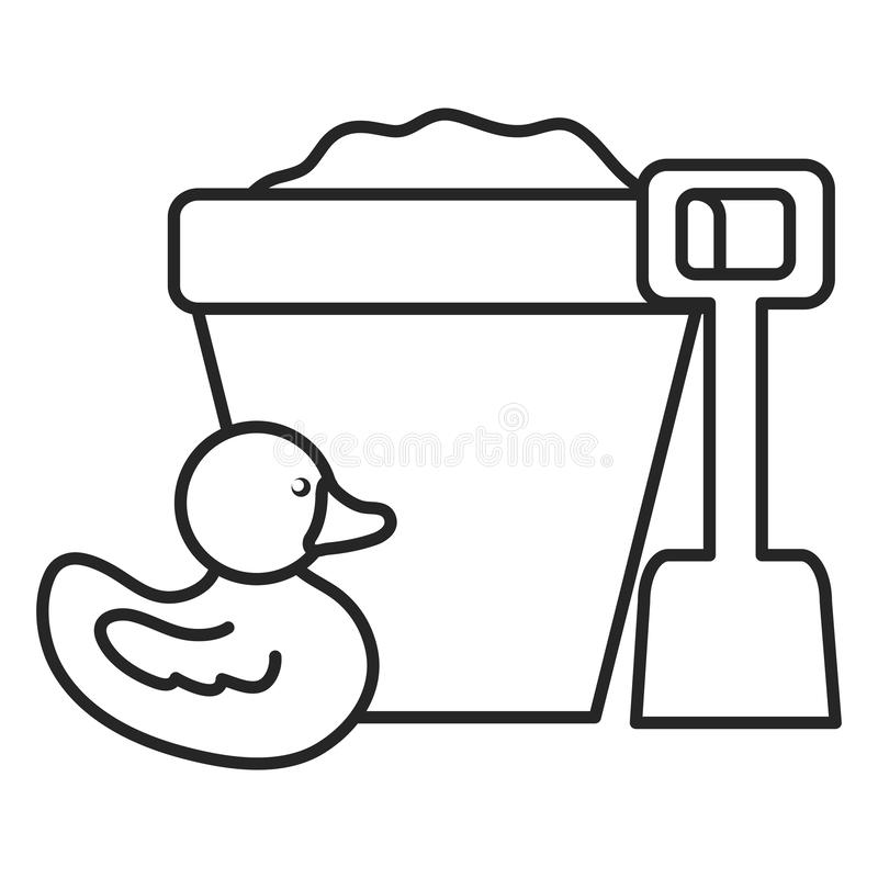 Cubeta da areia com pá e pato ilustração stock