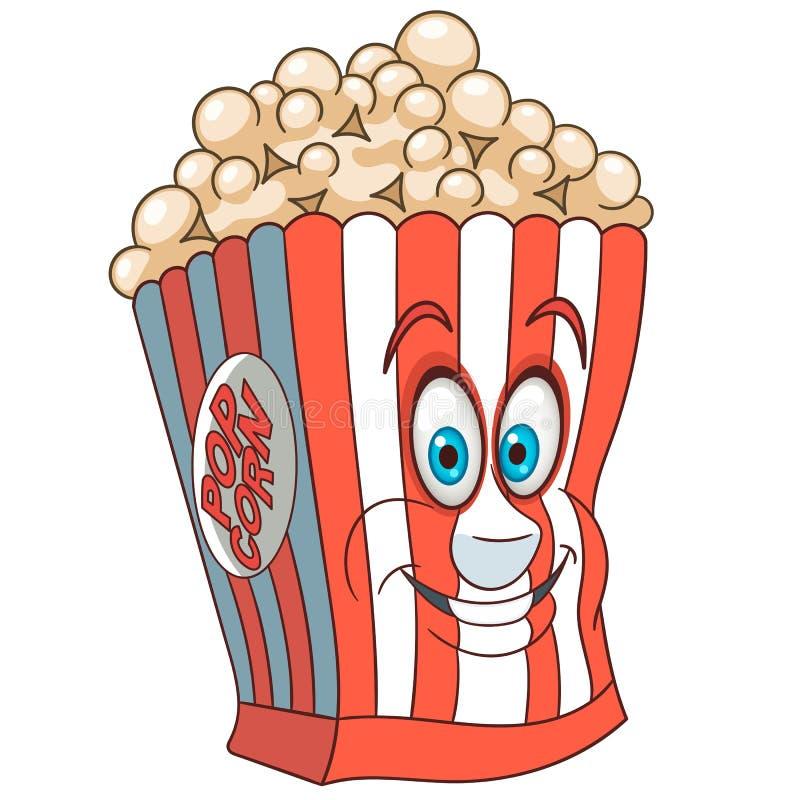 Cubeta da pipoca dos desenhos animados ilustração stock