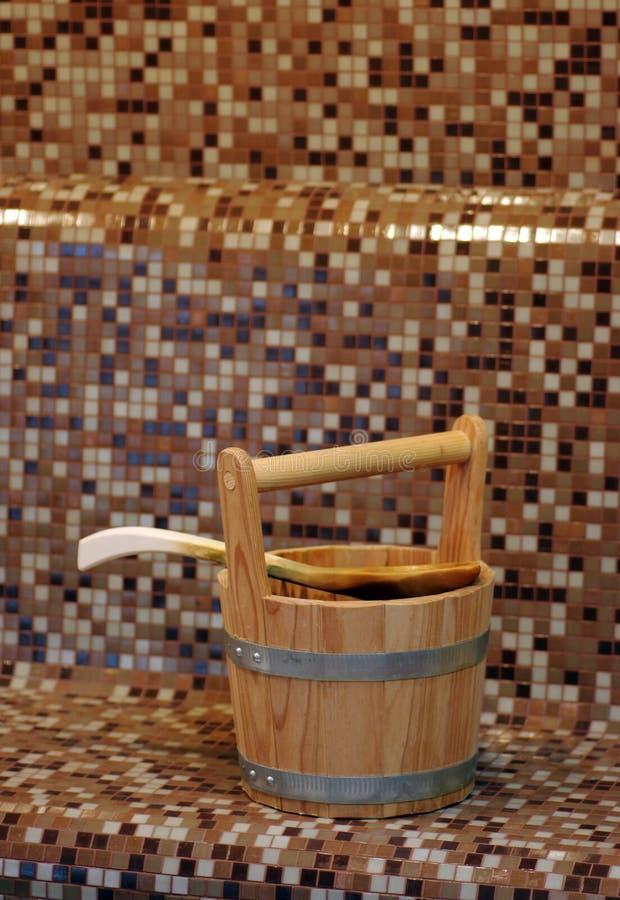 Cubeta da sauna imagens de stock