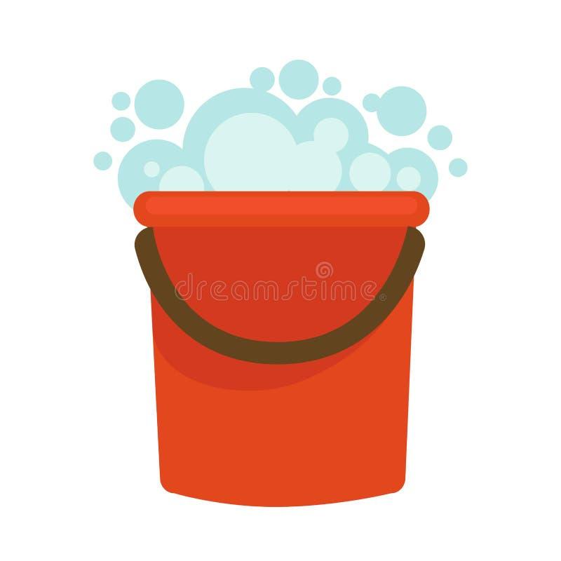A cubeta de água com vetor limpo da casa da espuma do sabão isolou o ícone liso para a limpeza da casa ilustração royalty free