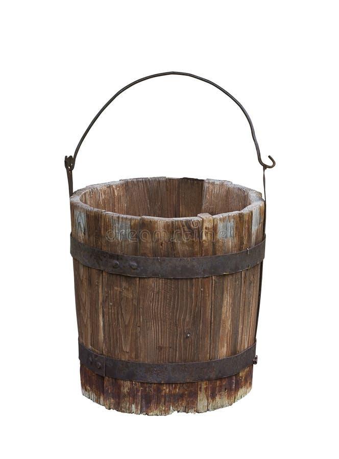 Cubeta de água de madeira vazia imagens de stock