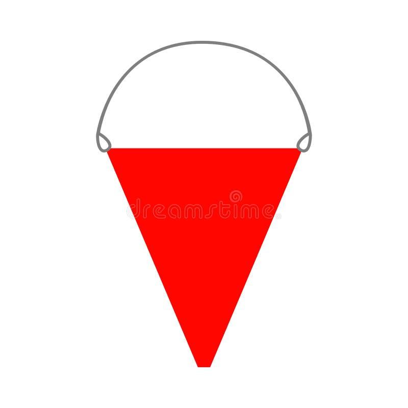 Cubeta de fogo ?cone liso, objeto isolado no fundo branco ilustra??o para o projeto ilustração do vetor