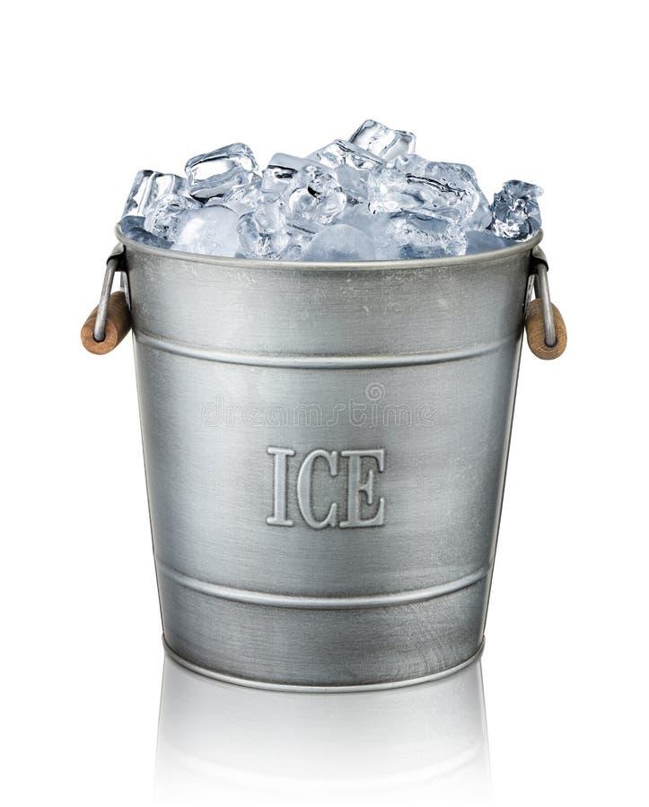Cubeta de gelo no fundo branco imagem de stock royalty free