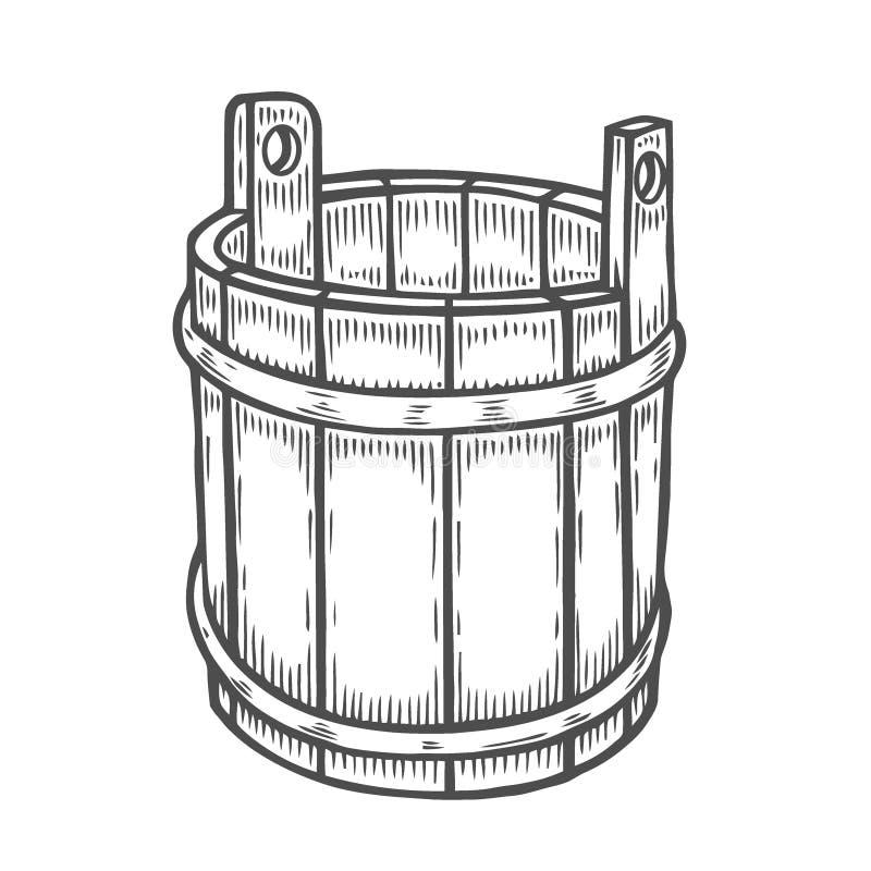 Cubeta de madeira velha ilustração do vetor