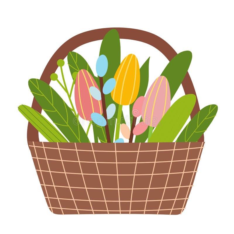 Cubeta do tempo de mola com flores, tulipas e salgueiro ilustração stock