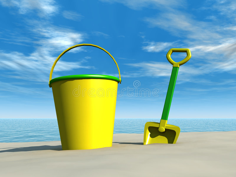Cubeta e pá na praia ilustração royalty free