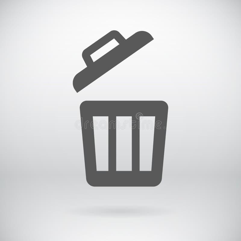 Cubeta lisa da maca da supressão do vetor do sinal do balde do lixo ilustração do vetor