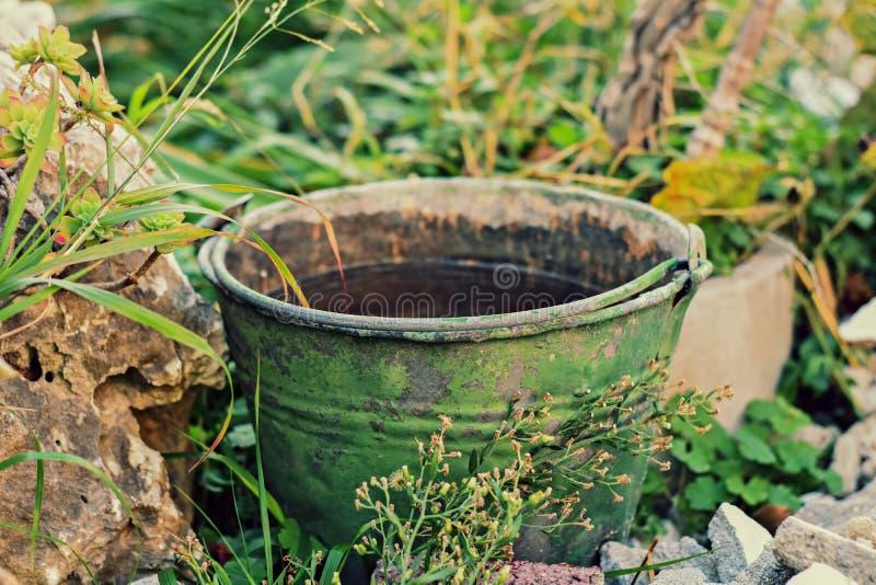 Cubeta oxidada velha completamente da água no jardim fotos de stock royalty free