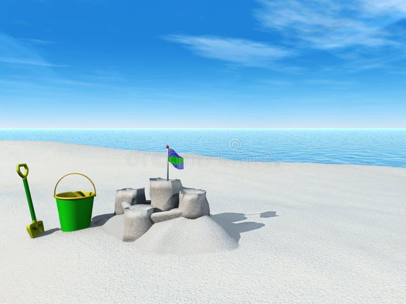 A cubeta, a pá e a areia fortificam em uma praia. ilustração stock