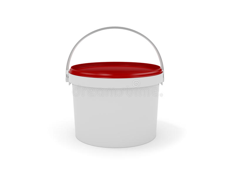 Cubeta plástica no fundo branco rendição 3d ilustração stock