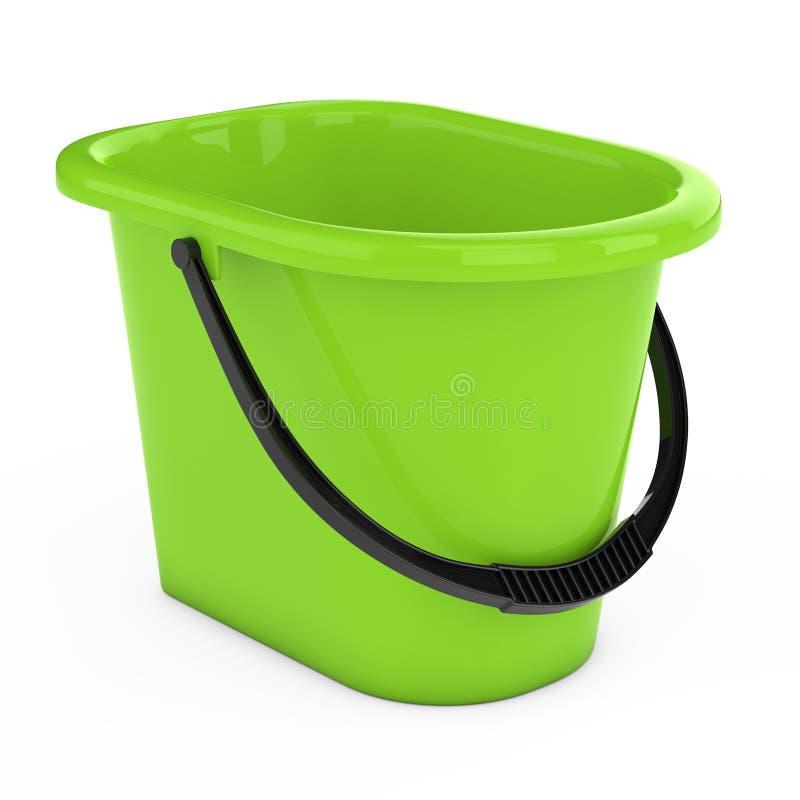 Cubeta plástica verde rendição 3d ilustração royalty free