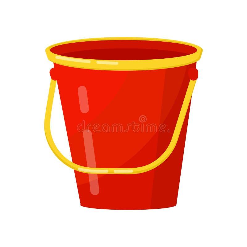Cubeta vermelha brilhante com punho amarelo Metal ou recipiente cilíndrico plástico Elemento liso do vetor para o cartaz de ilustração stock