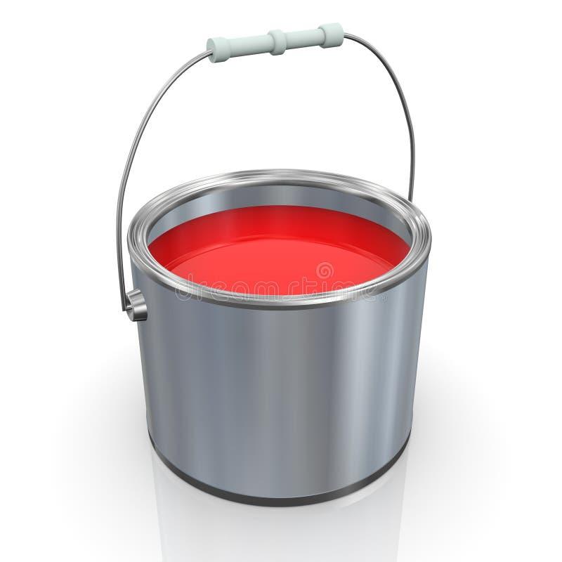 cubeta vermelha da pintura 3d ilustração do vetor