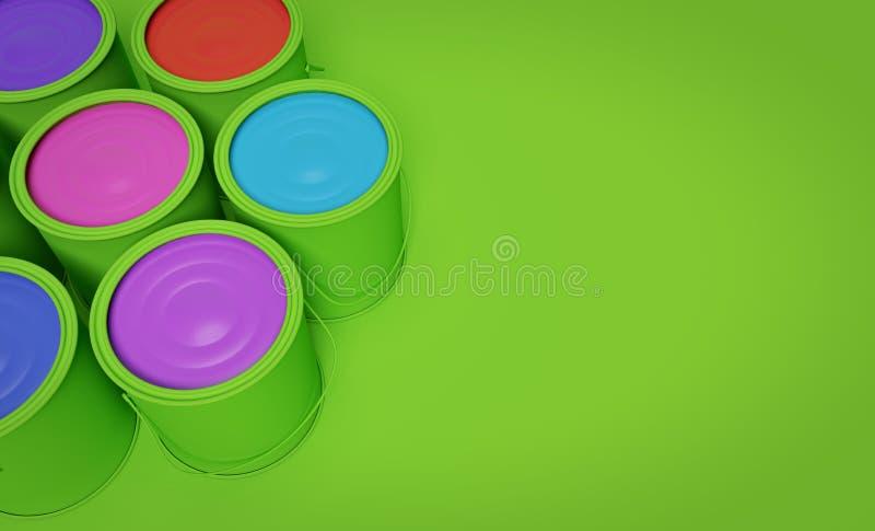 Cubetas coloridas da pintura rendi??o 3d ilustração do vetor