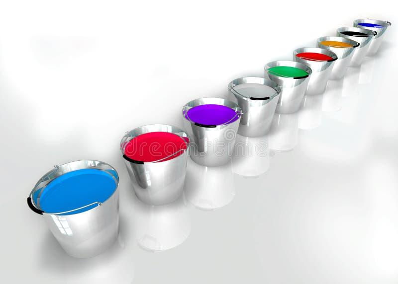 Cubetas das cores ilustração stock