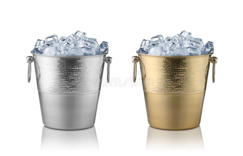 Cubetas de Champagne, completas com gelo fotografia de stock