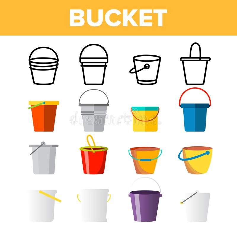 Cubetas, linha fina grupo do vetor dos baldes dos ícones ilustração stock