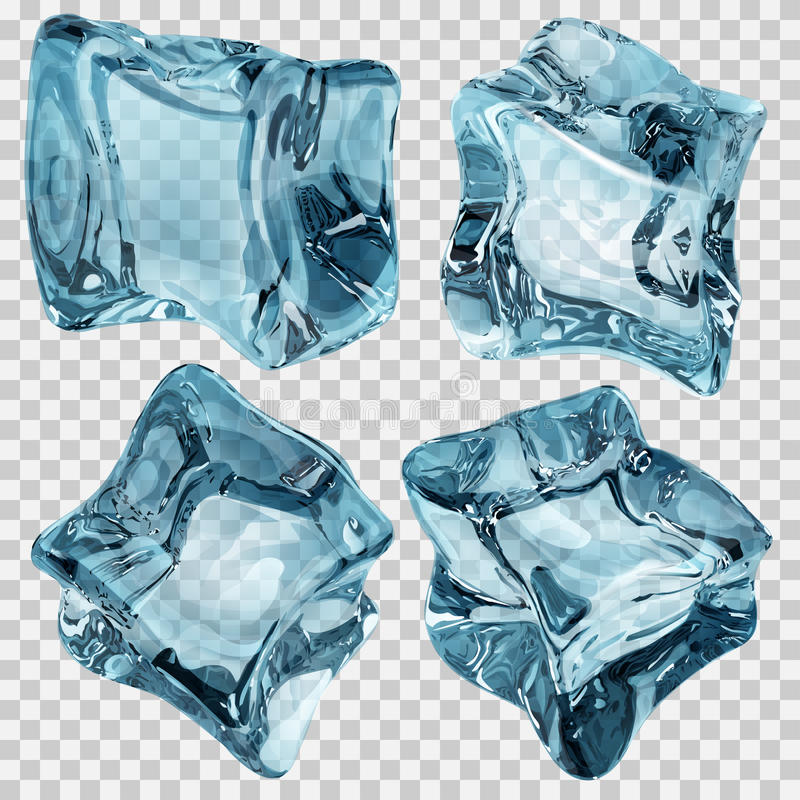 Cubetti di ghiaccio blu-chiaro trasparenti illustrazione di stock