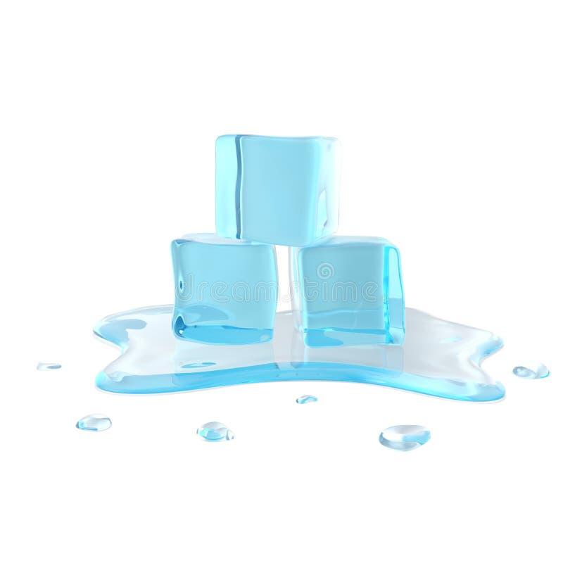 Cubetti di ghiaccio di fusione su fondo bianco illustrazione 3D illustrazione vettoriale