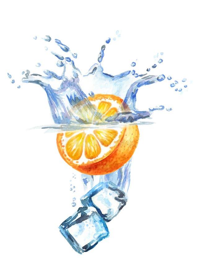 Cubetti di ghiaccio e caduta arancio nell'acqua isolata su fondo bianco royalty illustrazione gratis