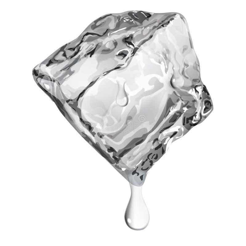 Cubetto di ghiaccio opaco con le gocce di acqua royalty illustrazione gratis