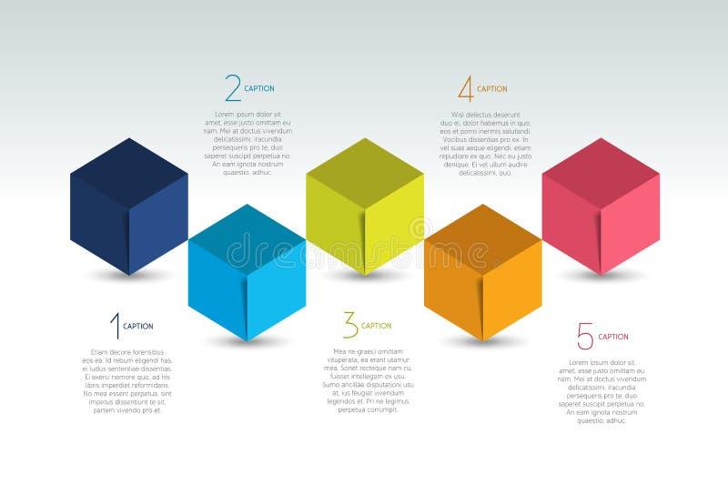 Cubez la bannière d'options d'infographics, calibre, plan, diagramme, disposition des textes Conception de cinq étapes illustration de vecteur
