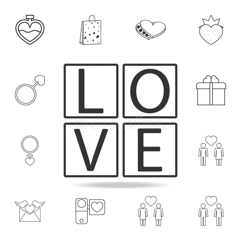 cubi con l'icona di amore del testo Insieme delle icone dell'elemento di amore Progettazione grafica di qualità premio Segni, ico illustrazione vettoriale