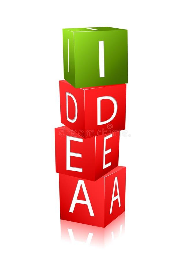 Cubi con le lettere e l'idea di parola illustrazione vettoriale