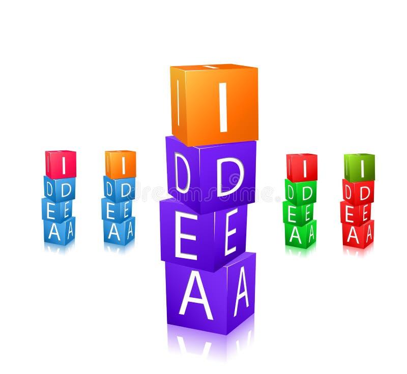 Cubi con le lettere e l'insieme dell'icona di idea di parola illustrazione vettoriale