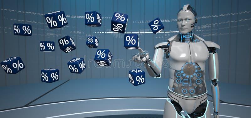 Cubi delle percentuali del robot di umanoide illustrazione di stock