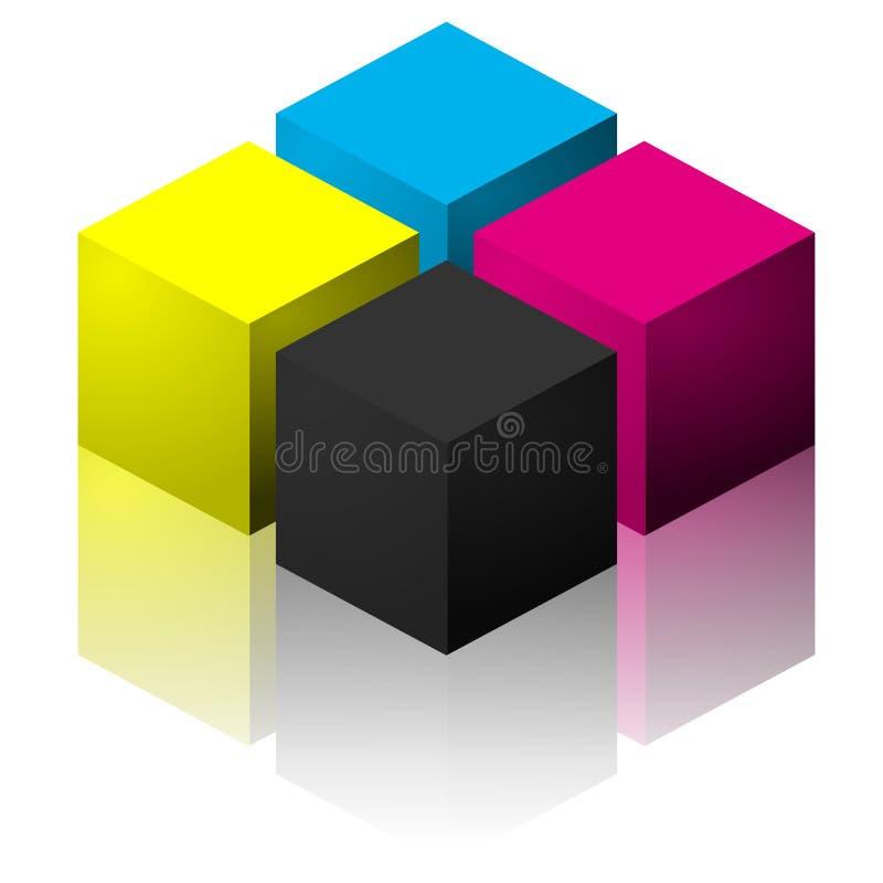 Cubi di CMYK illustrazione vettoriale