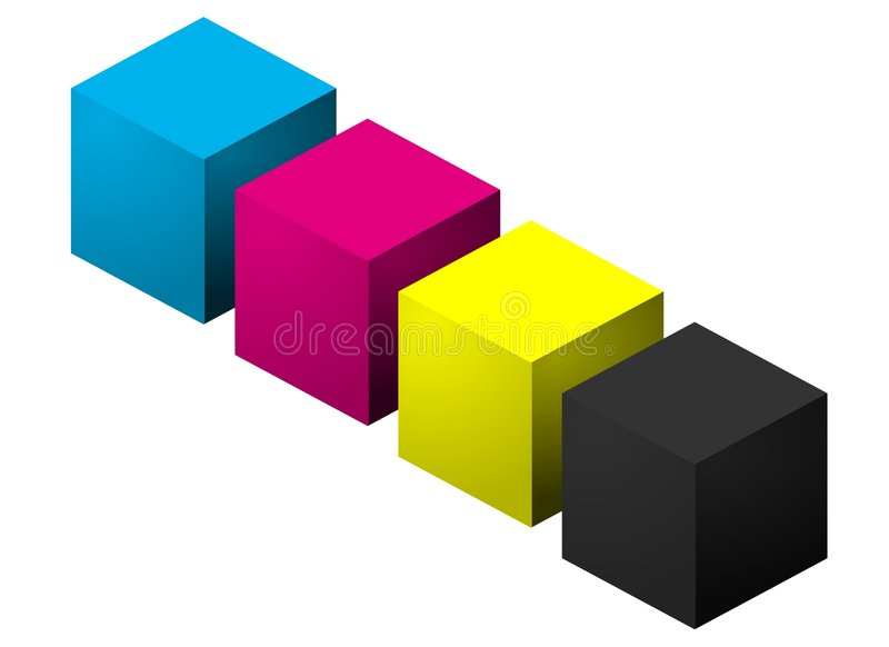 Cubi di colore di CMYK illustrazione vettoriale